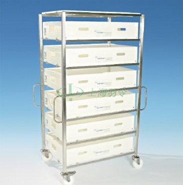 Allegro trolley and trolley extension containing 20 L Allegro trays