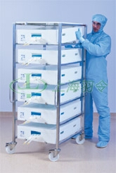 Single column multipurpose processing trolley with 20 L Allegro trays and systems
